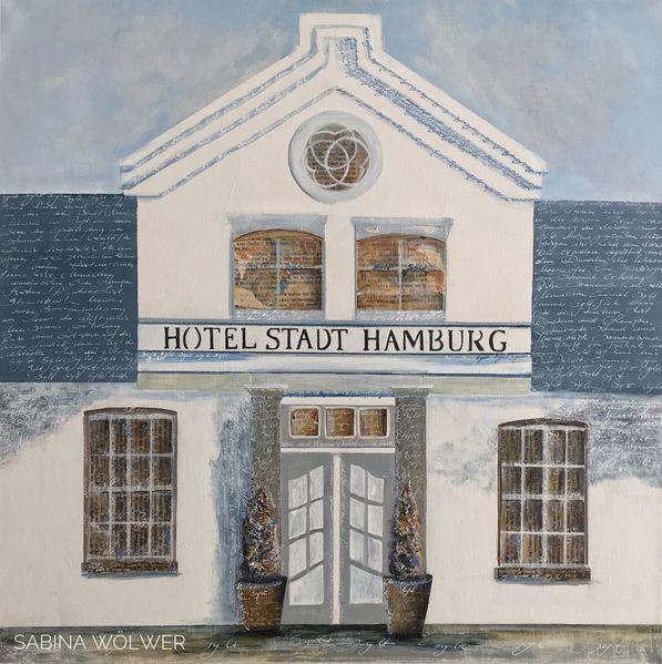 Handschrift, Syltimpressionen, Schrift, Westerland, Blau, Hotel stadt hamburg