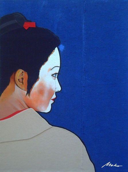 Geisha, Collage, Ukiyo, Portrait, Japan, Mischtechnik