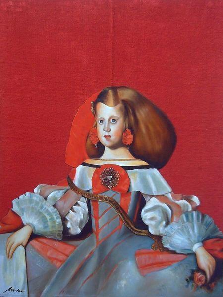 Ölmalerei, Rot, Velázquez, Burlap, Martínez del mazo, Infanta