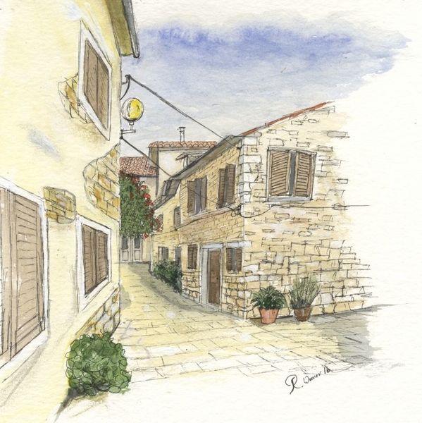 Kroatien urban sketching, Altstadt, Kroatien, Straßenszene, Rovinj, Zeichnungen