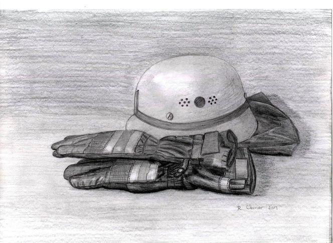 Handschuhe, Bleistiftzeichnung, Feuerwehr, Zeichnungen