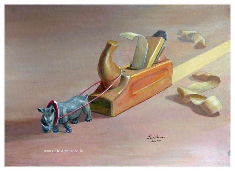 Nashorn, Schwerstarbeit, Acrylmalerei, Fantastisch, Realismus, Hobeln