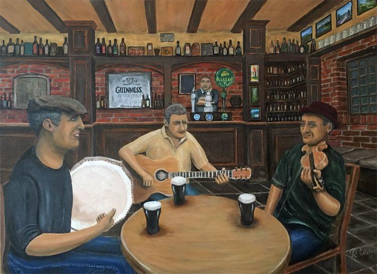 Gaststätte, Instrument, Irische kneipen musik, Irish pub, Malerei, Musik