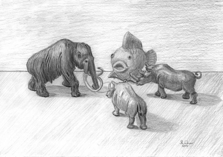 Bleistiftzeichnung, Mammut, Horn, Fisch, Tiere, Nashorn