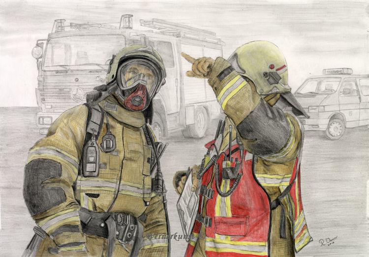Realismus, Colorierte zeichnung, Bleistiftzeichnung, Feuerwehr, Zeichnungen