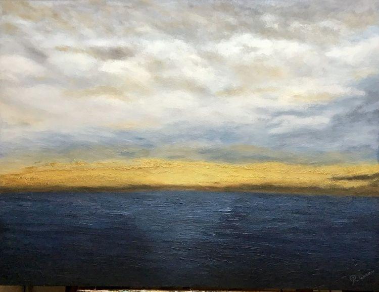 Sonnenuntergang, Weite, Gold, Wolken, Abstrakt, Wetter