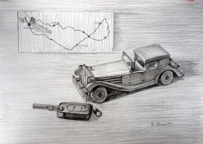 Nostalgie, Bleistiftzeichnung, Schlüssel, Oldtimer, Zeichnungen