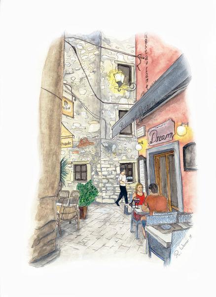 Stadt, Gaststätte, Kroatien, Rovinj, Cafe, Zeichnungen