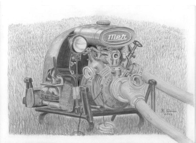 Feuerwehr, Löschgerät, Feuewehrpumpe, Bleistiftzeichnung, Zeichnungen,