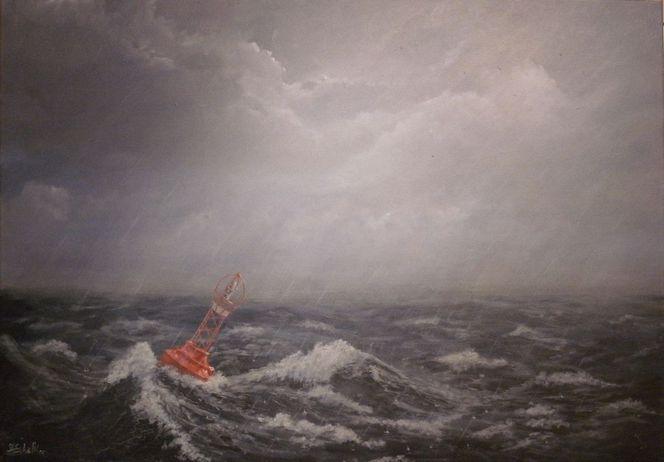 Sturm, Wasser, Wolken, Nebel, Landschaft, Acrylmalerei