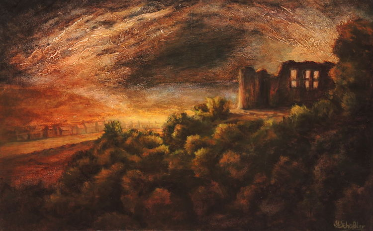 Himmel, Romantik, Ölmalerei, Sonnenstrahlen, Fluss, Burg