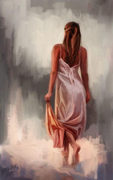 Frau, Licht, Gemälde, Portrait, Tablet, Digitale malerei