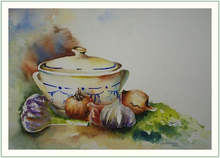 Terrine, Knoblauch, Küche, Stillleben, Kraut, Aquarellmalerei
