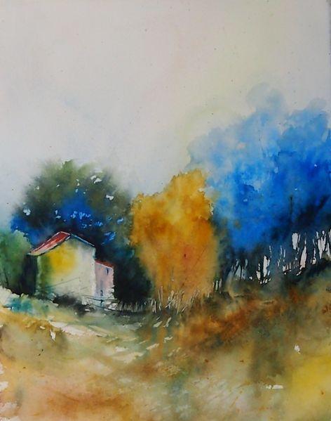 Landschaft, Farbkräftig, Modern, Malerei, Aquarellmalerei, Stimmung