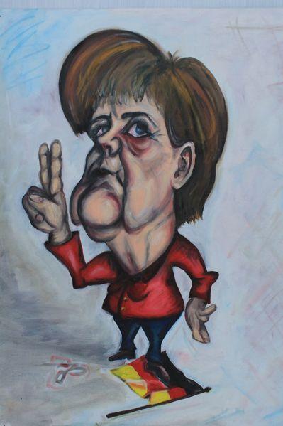 Schwur, Merkel, Kopf, Politisches verbiegen, Fahne, Selbstverliebt