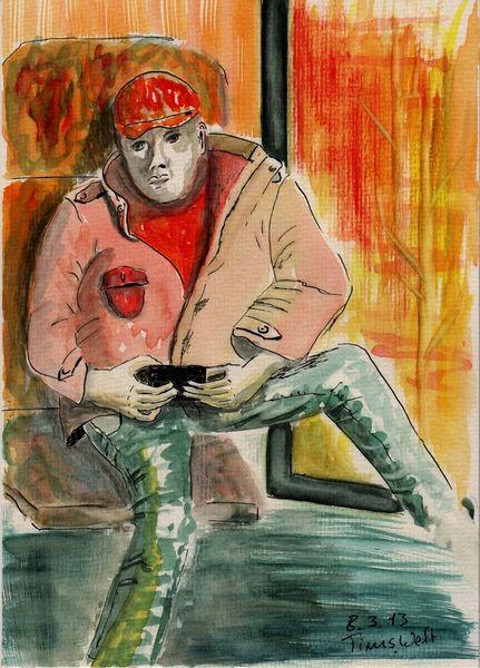 Menschen, Rosa, Malerei, Aquarellmalerei, Aquarell, 2013
