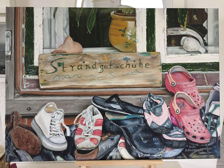Fenster, Ölmalerei, Schuhe, Holz, Glas, Nordsee