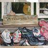 Schuhe, Holz, Glas, Nordsee