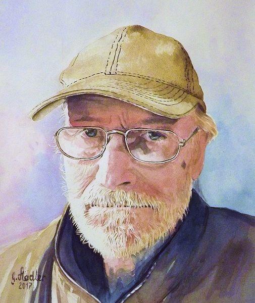Selbstportrait, Mudau, Spiegel, Brille, Aquarellmalerei, Portrait