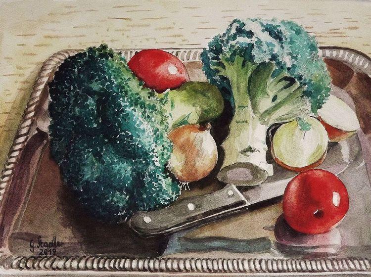 Brokkoli, Tablett, Ernährung, Tomate, Gesundheit, Zwiebeln