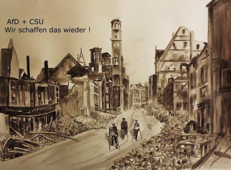 Hunger, Augsburg, Afd, Ruine, Bombe, Tod