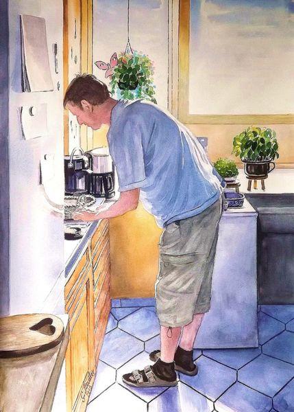 Mudau, Gemälde, Aquarellmalerei, Malerei, Schloßau, Küche