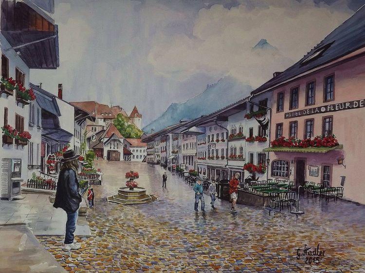 Fondue, Aquarellmalerei, Hr giger, Käse, Landschaft, Schweiz
