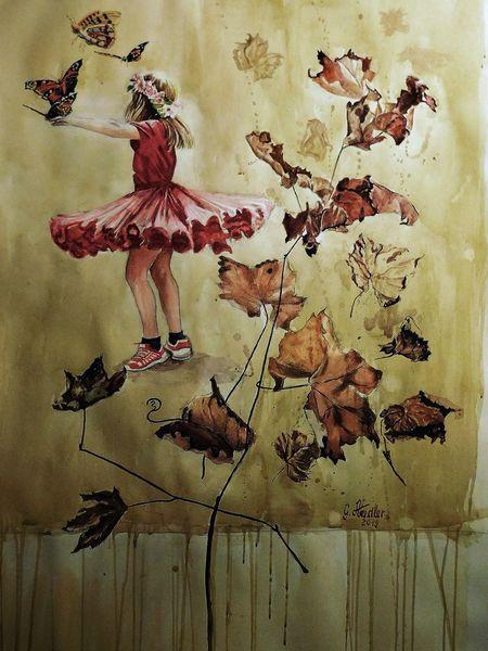 Natur, Herbst, Mädchen, Schmetterling, Frühling, Jugend
