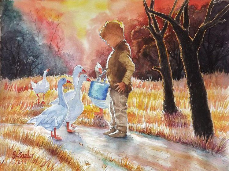 Tiermalerei, Odenwald, Glück, Natur, Abendrot, Aquarellmalerei landschaftsmalerei