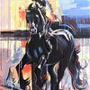 Zeitgenössisch, Pferde, Schwarz, Galopp