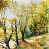 Aquarellmalerei, Landschaft, Natur, Herbst laub