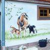 Huhn, Hauswand, Wandmalerei, Kind