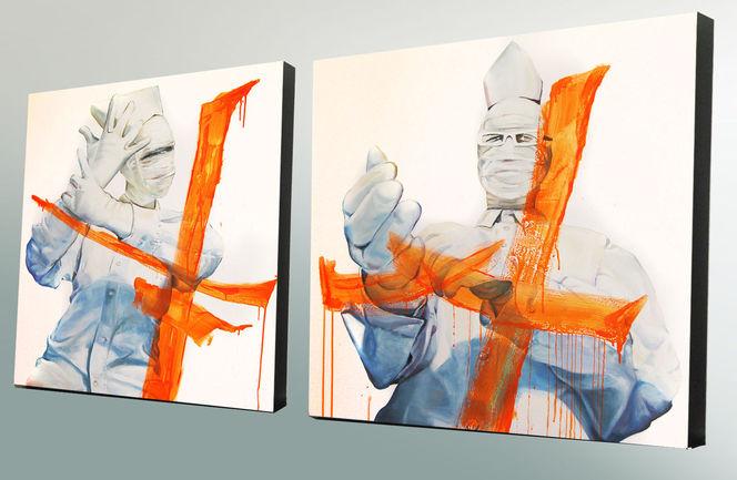 Verhüllen, Person, Weiß, Handschuhe, Mann, Orange