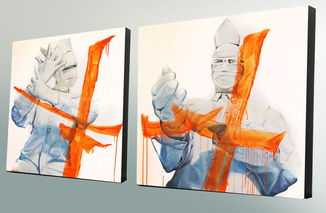Orange, Handschuhe, Mann, Frau, Maske, Basek