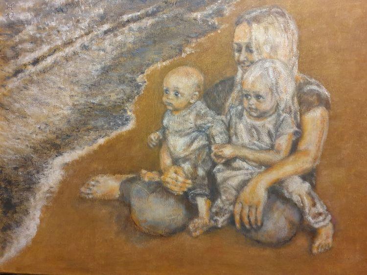 Mutter, Kinder, Strand, Sand, Malerei