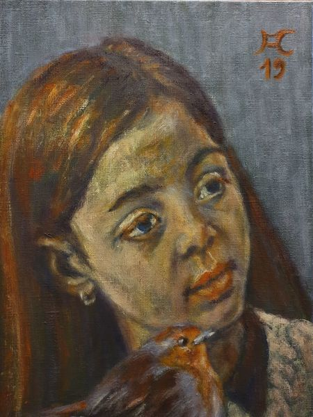 Rotkehlchen, Haare, Kinderkopf, Orange, Malerei