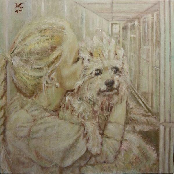 Mädchen, Hund, Gitter, Malerei, Befreiung