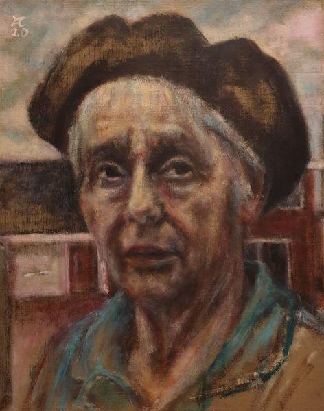 Frau, Haus, Blick, Türkis, Malerei, Geschichte