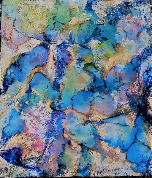 Blau, Holz, Abstrakt, Wachs, Enkaustik, Pigmente