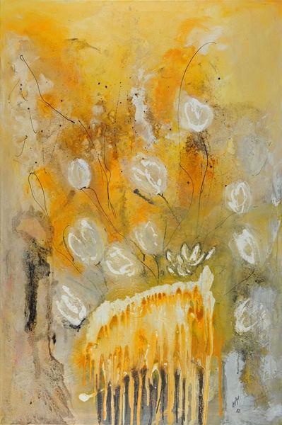 Vase, Lotosblume, Blumen, Gelb, Tulpen, Mischtechnik