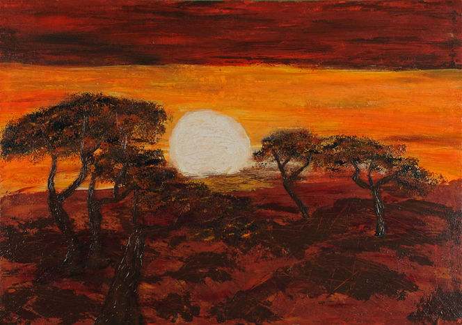 Sonne, Farben, Afrika, Savanne, Baum, Orange