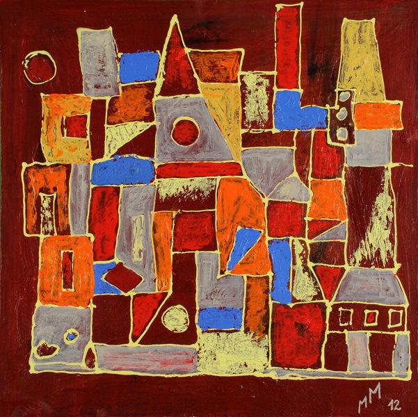 Turm, Temperamalerei, Gelb, Rot, Orange, Bunt