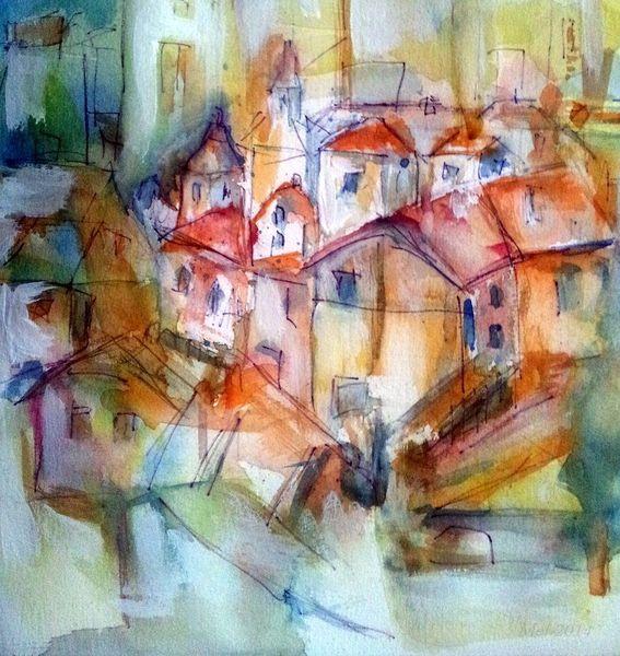 Aquarellmalerei, Abstrakt, Häuser, Süden, Aquarell