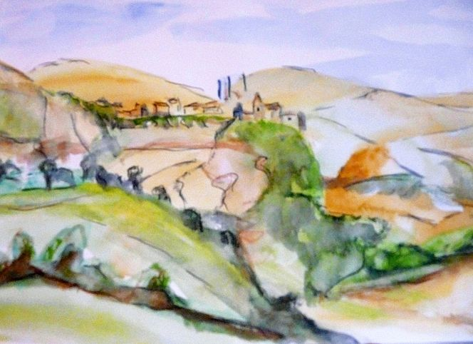 Landschaft, Aquarellmalerei, Abstrakt, Aquarell