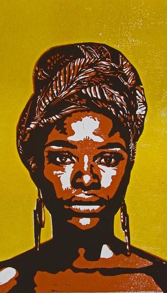 Karibik, Frau, Portrait, Blockprint, Hochdruck, Druckgrafik