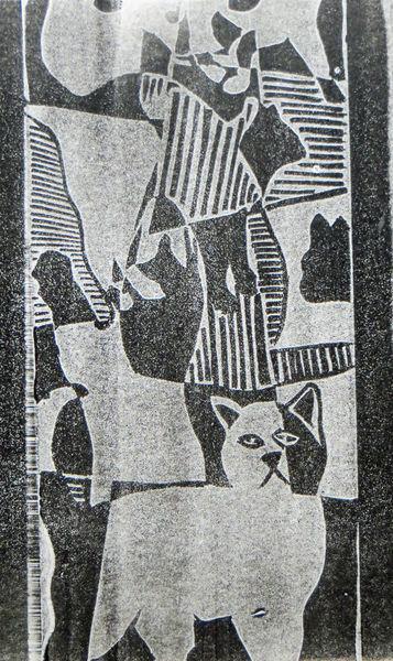 Monotypie, Druckgrafik, Katze