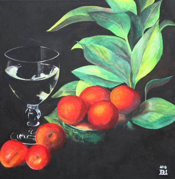 Früchte, Stillleben, Obst, Malerei, Glas,