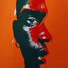 Warm, Portrait, Rot schwarz, Siebdruck
