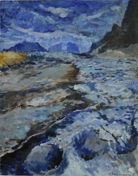 Gemälde, Blau, Arrangement, Landschaft, Zeichnen, Fusion