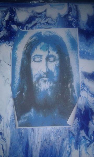 Jesus, Kirche, Blau, Malerei